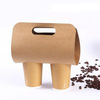 Disposable Kraft Paper Cup Base Holder with Handle Eco Friendly Coffee Milk Tea Cups Tray Takeaway Drink Packaging GWA9585
