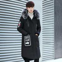 Korean Version Fashion Big Fur Collar Down Jacket Men White Duck Coats Thick Long Windbreaker Youth Hooded Puffer Jackets