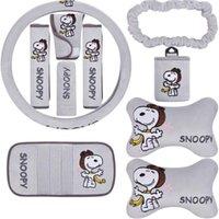 10 adet / ünite Oto Aksesuarları Snoopy Gri Karikatür Araba Döşeme Evrensel Otomotiv İç Direksiyon Kapak Yastık Araba Kapakları Set