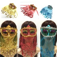 Halloween Christmas Mask Belly Dance Children's Annual Party Masquerade Adult Get Together Indian Style with Veil Gold Powder Sequins W0266