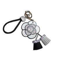 Luxury Mirror Crystal Rose Flowers Keychain Bag Pendant Car Ornaments Charm For Women Leather Key Chain Tassel Key Ring Porte