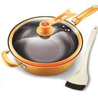 29%, 32см железо сковородочный жаропрочный вакуумный вакуумный горшок, перестаньте огромное охранное сохранение, варить вок с вертикальными кастрюлями крышки