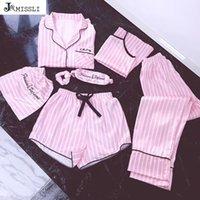 Jrmissli منامة النساء 7 أجزاء منامة الوردي مجموعات الحرير الحرير جنسي الملابس الداخلية المنزل ارتداء ملابس النوم بيجامة مجموعة بيما امرأة T200110