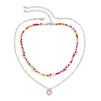 Yamog Women Oil Drop Heart-Shaped Pendant Necklaces European Colors Flowers Beaded Clavicle Chains Female Double Layer Lovers Gift Neck Jewelry Accessories
