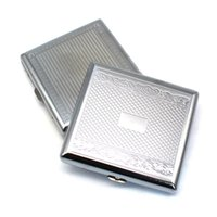 Metal Cigarette Case Embossed Cigarettes Box Stainless Steel 95*87MM 20pcs Regular Boxes Tobacco Holder FWA7395