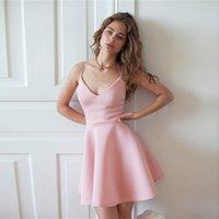 Casual Dresses Vestido de vero solto sexy, cor slida, uma linha, vestido festa em clube, sem mangas, cintura alta, moda, mini feminino, V40G