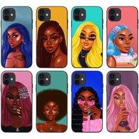 Telefon Kılıfları iPhone 12 Mini 11 Pro X XS XR Max 13 Moda Siyah Kız Yumuşak TPU Tampon Kapak
