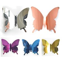 12pcs DIY Mirror Butterflies 3D Butterfly Wall Stickers Kids Bedroom Decals Home Room Mural Party Decoration