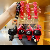 3D Squid Game Figures Mask Keychain Charms Accessories Round Cosplay Keychains for Ladies Women Men Kids Key Chain Toys Gift