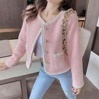 Women's Fur & Faux Jaqueta tipo tweed de inverno feminina, jaqueta top solto manga longa vintage com botões 2S38