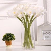 Dekoratif Çiçekler Çelenkler 10 adet Yüksek Kalite Gerçek Dokunmatik Calla Lily Yapay Buket Düğün Gelin Ev Çiçek Dekorasyon Için