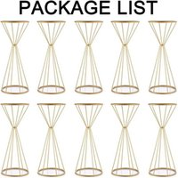 Flower Vases Gold  White Flower Stands Metal Road Lead Wedding Centerpiece Flowers Rack For Event Party Decoration H0910