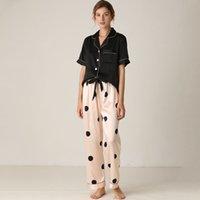 Lisacmvnel primavera nueva pijamas mujer seda traje de manga corta pantalones sueltos altos archivos de dormir