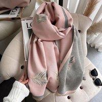 Sciarpe 2021 piuma stampa donne sciarpa cashmere foulard marca inverno sciarpe pashmina scialli involucri coperta bufanda caldo