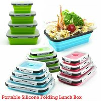 Dinnerware Sets 4PC Silicone Bento Box Folding Lunch Bowl Storage Container Boxes Tableware