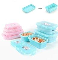 Boîte à lunch 350ml / 500 ml / 800ml / 1200ml Conteneur de silicone pliable Portable Bento Microware Home Cuisine NHD10031