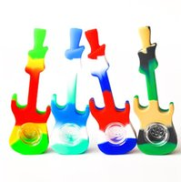 Silicone Guitar Smoking Hand Pipe with bowl Oil Rigs Glass Bong