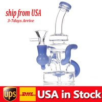 Recycler Oil Rigs Hookahs Thick Glass Water Bongs Smoking pipe Heady Dab Rigs Bongs Water Pipes Colored Perc 14mm joint in stock USA