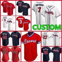 Braves Бейсбол майки 7 Dansby Swanson Custom Atlanta Мужчины Женщины 13 Рональд Акуна JR Freddie Freeman 24 Deion Sanders Heaffer Jones Melancon