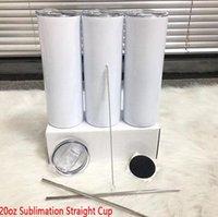 US-amerikanische Lager 20 Unzen DIY Sublimation Gerade dünne Tumbler mit Metallstrohgummi-Kautschuk-Untersetzer und Pinsel Dovel-Wand-Thermoskasse
