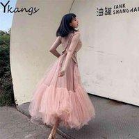 Vintage Pembe Pileli Uzun Tül Etek Tutu Femme Yüksek Beledilmiş Pist Yumuşak Örgü Etekler Kore Kadınlar Bahar Jupe Harajuku 210421