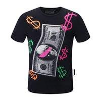 22ss Summer Short Sleeve T-Shirt Hip Hop Fashion Men O-neck Fitness Casual Slim Tops PP Men's Skulls Print Cotton Streetwear T-shirt M-3XL