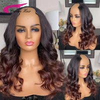 Lace Wigs U Part Wig Ombre Blond Color Wavy 2*4 Open Middle Part Left Part Right Human Hair For Black Women Carina