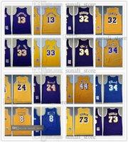 Mann Retro Basketball Dennis 13 Chamberlain Trikots Mitchell Ness Wilt 73 Rodman Jerry 44 Johnson 32 West Mesh Gelb Weiß Blau Lila Vintage Hemden genäht