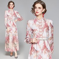 Spring Dresses High Waist Puff Sleeve Stand Collar Print Butterfly Long Dress For Womens Clothes Casual
