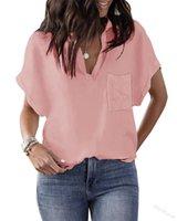 Women's Blouses & Shirts Women Short-sleeved Shirt Spring Solid Color V-neck Loose Hedging Multicolor Bat-sleeved Mid-length Temperament Com