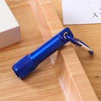 Neuf6 couleurs portables LED lampe de poche de lampe de porte-clés d'alliage d'aluminium lampe de poche de lampe de poche avec bague de mousqueton KeyRings cadeaux EWD7676