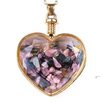 Crystal Heart Colgante Collares Party Supplies Ladies Drifting Deseando Botella de cristal Collar para mujer Joyería de moda FWC7511