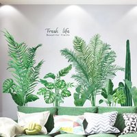 Wall Stickers Nordic Plant Big Tree Cute Living Room Sofa Bedside Decoration Self-adhesive Green Leaves Corridor Decals