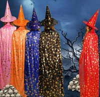 Halloween Wizard Cape Witch Long Clock Hat Costume Cosplay Party Props For Kids Children Teen Adults Black Pink Red Purple Orange Blue