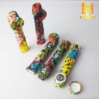 Fumeur Tuyau de la main en silicone avec bol en métal et bouchon en silicone DAB Hookah Bongs