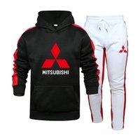Men's Hoodies & Sweatshirts Mitsubishi CarLOGOSpring Autumn Men Suit Fashion Casual Tracksuit Mens Set Sports Two Piece Stripe Hoodie Pant M