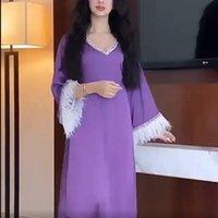 Ethnic Clothing Abayas For Women Muslim Fashion Dubai Turkey Maxi Dress Tassel Feather Purple Evening Gowns 2021 Caftan Marocain Djellaba