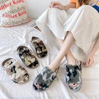 Camouflage Elastische Band Plüsch Slipper Frauen Herbst und Winter Europa Amerika Haushalt Baumwolle Hausschuhe Furry Sanda