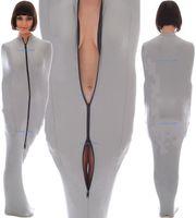 Argento Grigio Lycra Spandex Mummy Costumes Borsa a pelo con maniche a braccio interno Unisex Sleepsacks Borse per il corpo Catsuit Costume Outfit Halloween Cosplay Vestito M077