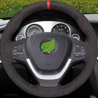 DIY Hand-stitched Black Suede Car Steering Wheel Cover for BMW F20 F21 F22 F23 F30 F31 F34