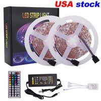 VS voorraad 16.4ft 32.8FT LED-strips 5m 10m RGB 5050 striplichten 30leds / m met 44 sleutelafstandsbediening