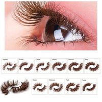 3D Mink Brown False Eyelashes Cross Long Natural Fake Eyelashes Stage Show Makeup Thick Eye Lashes