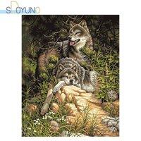 Dipinti Sdoyuno FAI DA TE Paint by Numbers Wolf 60x75cm Pittura ad olio su tela Animali Cornice Cornice Handpaint Coloring Regalo