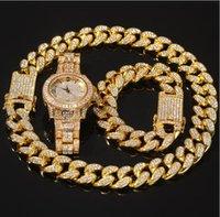 2021 3 pcs conjunto de colar + relógio + pulseira hip hop miami freio cadeia cubana ouro cheio gelado fora pavimentada rhinestones cz bling para homens jóias