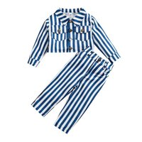 Girls Outfits Kids Clothing Sets Baby Clothes Children Suits Fall Striped Long-Sleeved Tops Coat Trousers Pants 2Pcs B8481