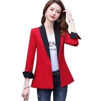 Женские костюмы Blazers Мода Женщина Красный Серый Кнопка Blazer Осень Зимняя Верхняя одежда Повседневная Куртки Женский V-образным вырезом Полный рукавом Пальто для GIR