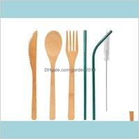 Spoons Cozinha de talheres, Bar de jantar Casa Jardim Cutelaria de Bambu Conjunto 5 pcs / Set Colher Faca Faca Pincel De Palha Dinnerware Home Cozinha Coo