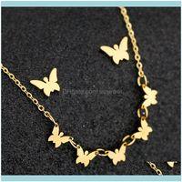 Ciondoli collane ciondoli gioielli a farfalla orecchini clavicola catena maglione catena collana in acciaio inox placcato oro LJ201016 consegna a goccia 2