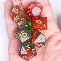 7 pcs d20 polyhedral dice glitter cores duplas 20 lados diary dices tabela jogo jogo H4GF 2038 Z2
