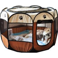 Kennels & Pens Portable Foldable Pet Cage Outdoor Dog House Octagonal Cat Indoor Playpen Kennel Small